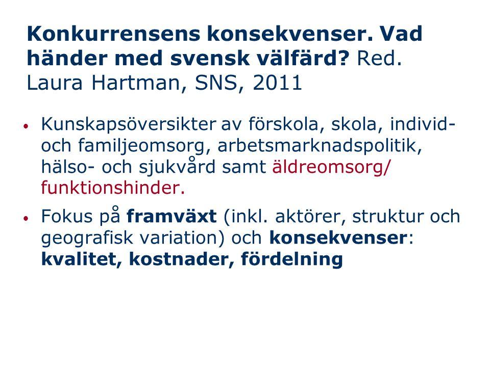 Sammanfattningsvis (1:2) Inget svenskt eller internationellt forskningsstöd för att konkurrensutsättning inom äldreomsorg leder till bättre kvalitet eller lägre kostnader Stat och kommuner har stort ansvar: - Att se till att det finns relevant statistik - Att se till att anbudsupphandling inte gynnar 'pseudokvalitet' - Att följa upp utlovade insatser och kvalitet - kan inte lita på att äldre 'röstar med fötterna' Men striktare styrning och kontroll  fokus på det mätbara  hot mot omsorgskvalitet?