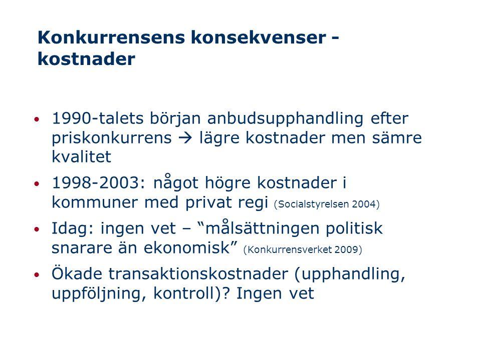 Konkurrensens konsekvenser - kvalitet Kvalitet inget entydigt begrepp men tid, kontinuitet och flexibilitet/vardagsinflytande viktigt Internationellt: Vinstsyftande äldreboenden har lägre personaltäthet och lägre kvalitet – särskilt stora och risk-kapitalägda företag (Comondore m fl 2011, Harrington m fl 2000 och 2011) Sverige: Äldreboenden i privat regi har lägre personaltäthet, färre heltid, fler timanställda (Stolt, Blomqvist & Winblad 2011, Socialstyrelsen 2012) Svenska 'Nöjd kund' mätningar: små skillnader, ingen entydig bild (Svenskt Kvalitetsindex 2011, Stockholms stad 2010)