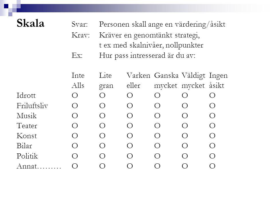 Skala Svar:Personen skall ange en värdering/åsikt Krav:Kräver en genomtänkt strategi, t ex med skalnivåer, nollpunkter Ex: Hur pass intresserad är du