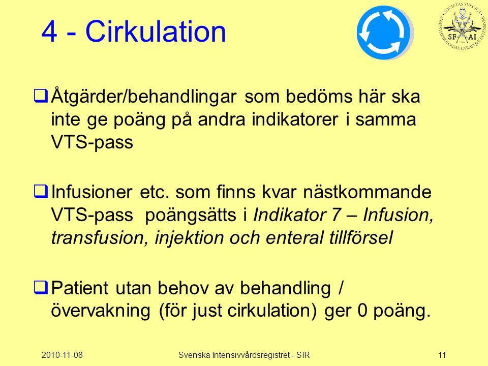 2010-11-08Svenska Intensivvårdsregistret - SIR11 4 - Cirkulation  Åtgärder/behandlingar som bedöms här ska inte ge poäng på andra indikatorer i samma