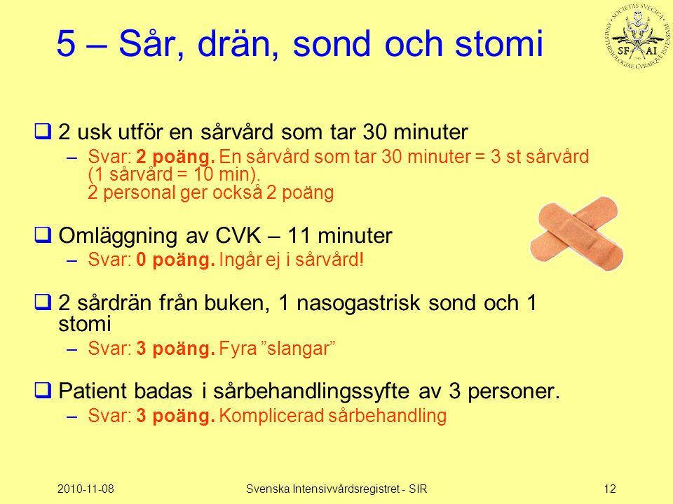 2010-11-08Svenska Intensivvårdsregistret - SIR12 5 – Sår, drän, sond och stomi  2 usk utför en sårvård som tar 30 minuter –Svar: 2 poäng. En sårvård