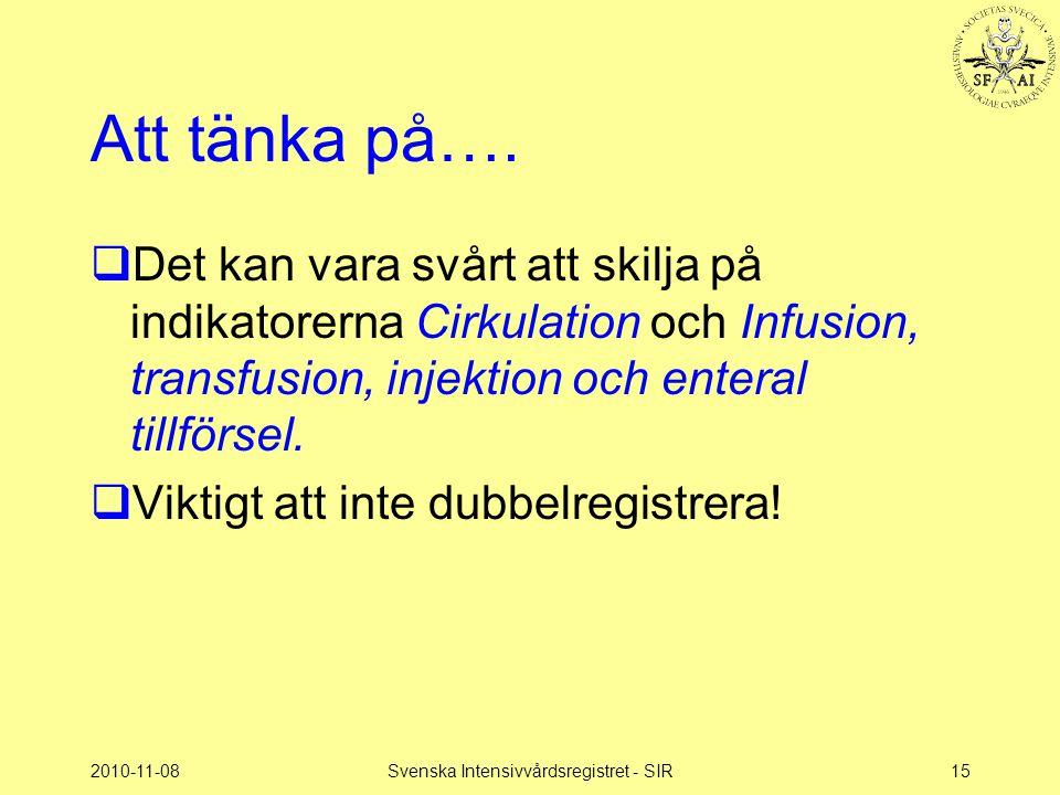 2010-11-08Svenska Intensivvårdsregistret - SIR15 Att tänka på….  Det kan vara svårt att skilja på indikatorerna Cirkulation och Infusion, transfusion