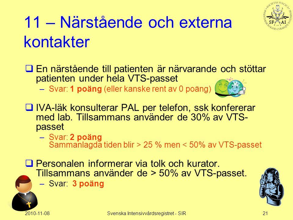 2010-11-08Svenska Intensivvårdsregistret - SIR21 11 – Närstående och externa kontakter  En närstående till patienten är närvarande och stöttar patien