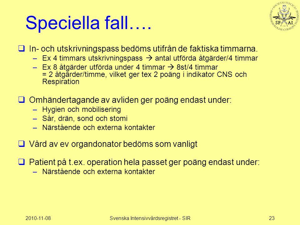 2010-11-08Svenska Intensivvårdsregistret - SIR23 Speciella fall….  In- och utskrivningspass bedöms utifrån de faktiska timmarna. –Ex 4 timmars utskri