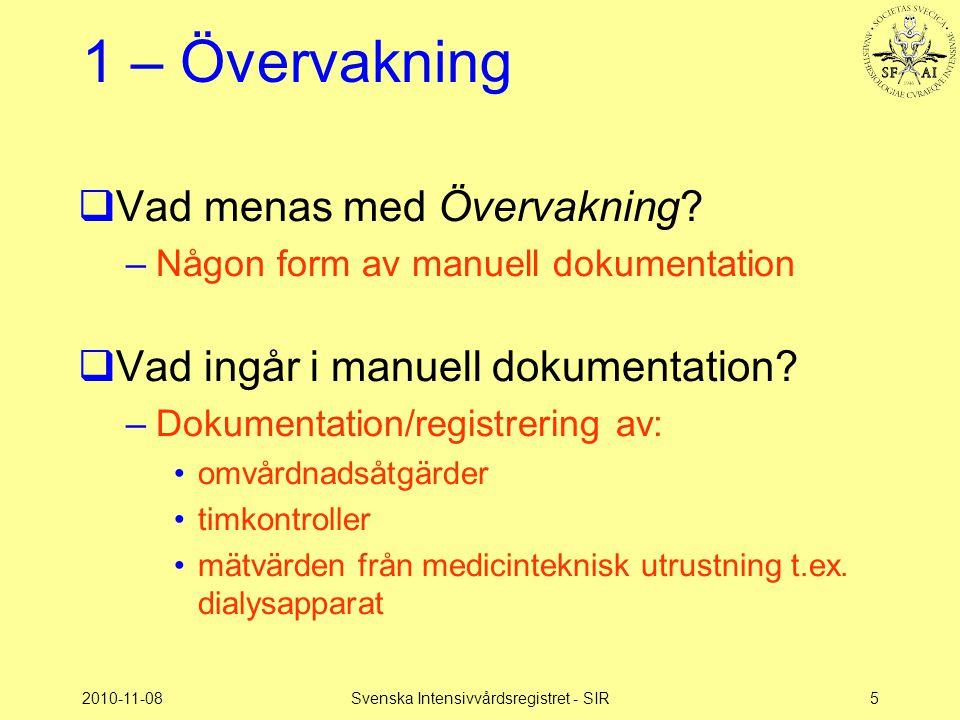 2010-11-08Svenska Intensivvårdsregistret - SIR5 1 – Övervakning  Vad menas med Övervakning? –Någon form av manuell dokumentation  Vad ingår i manuel