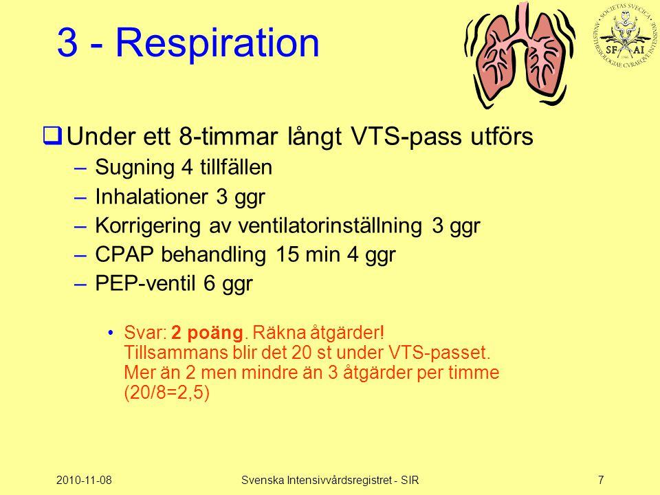 2010-11-08Svenska Intensivvårdsregistret - SIR8 3 - Respiration  Vård i ventilator med endotrachealtub –Svar: 2 poäng.