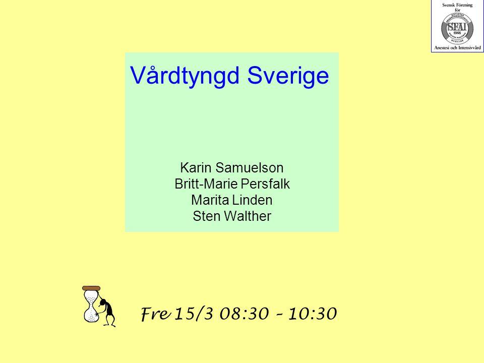 Vårdtyngd Sverige Karin Samuelson Britt-Marie Persfalk Marita Linden Sten Walther Fre 15/3 08:30 – 10:30