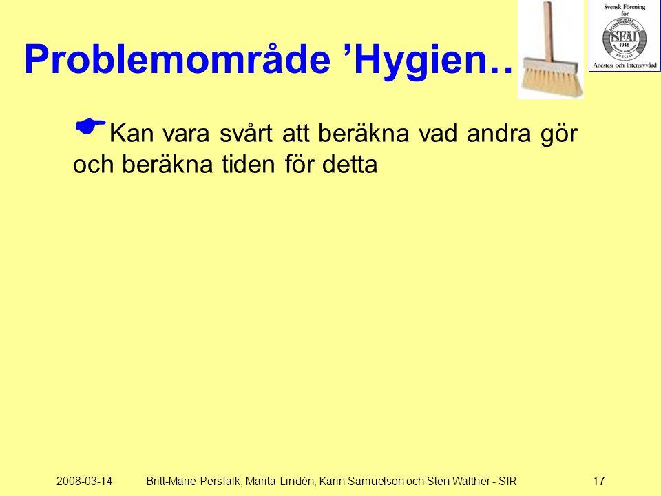 2008-03-14Britt-Marie Persfalk, Marita Lindén, Karin Samuelson och Sten Walther - SIR17 Problemområde 'Hygien…'  Kan vara svårt att beräkna vad andra