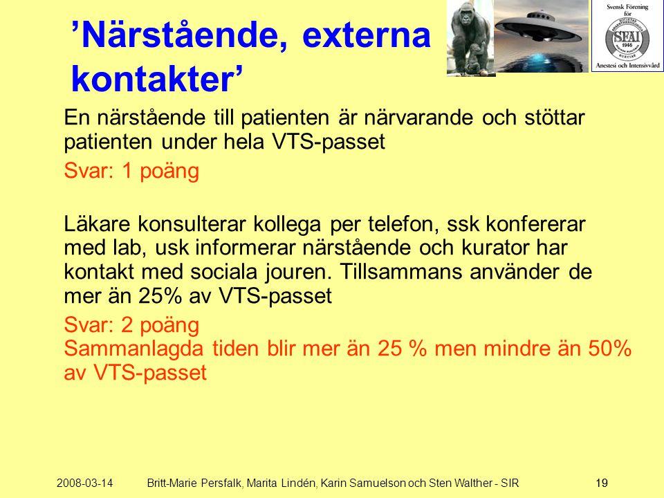 2008-03-14Britt-Marie Persfalk, Marita Lindén, Karin Samuelson och Sten Walther - SIR19 'Närstående, externa kontakter' En närstående till patienten ä
