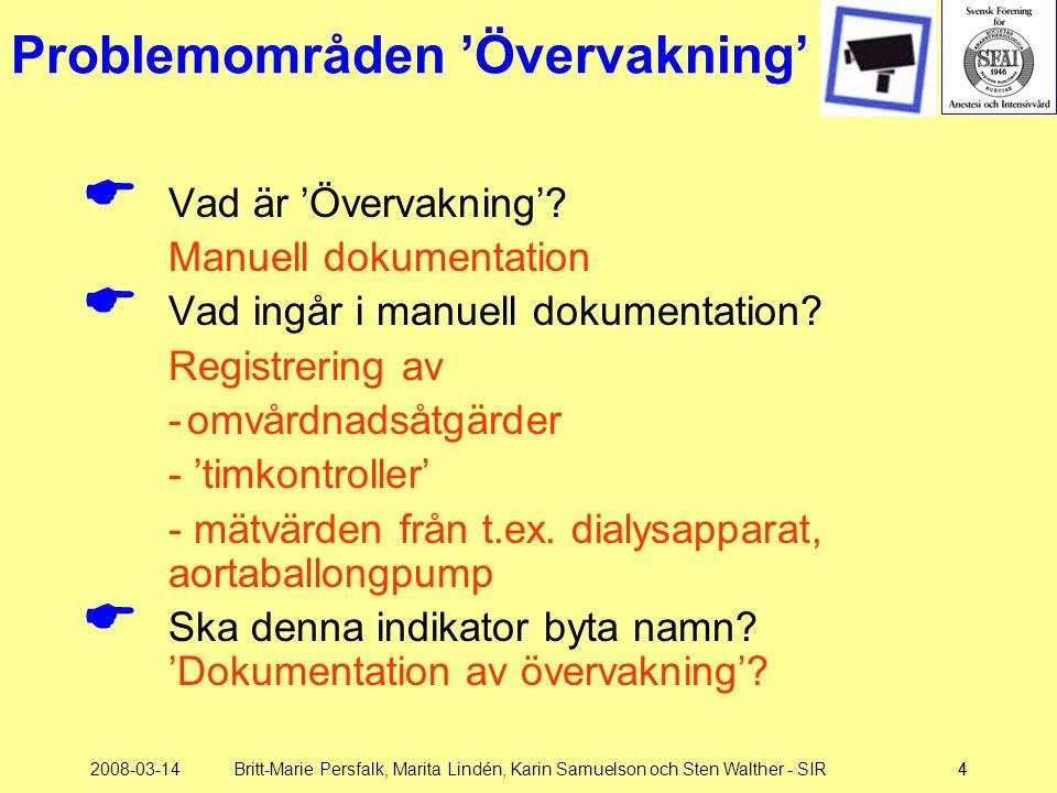2008-03-14Britt-Marie Persfalk, Marita Lindén, Karin Samuelson och Sten Walther - SIR44 Problemområden 'Övervakning'  Vad är 'Övervakning'? Manuell d