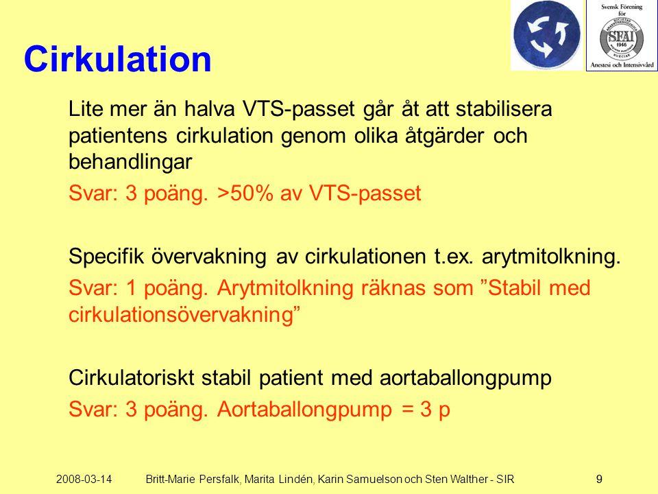2008-03-14Britt-Marie Persfalk, Marita Lindén, Karin Samuelson och Sten Walther - SIR99 Cirkulation Lite mer än halva VTS-passet går åt att stabiliser