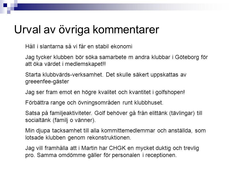 Urval av övriga kommentarer Håll i slantarna så vi får en stabil ekonomi Jag tycker klubben bör söka samarbete m andra klubbar i Göteborg för att öka värdet i medlemskapet!.