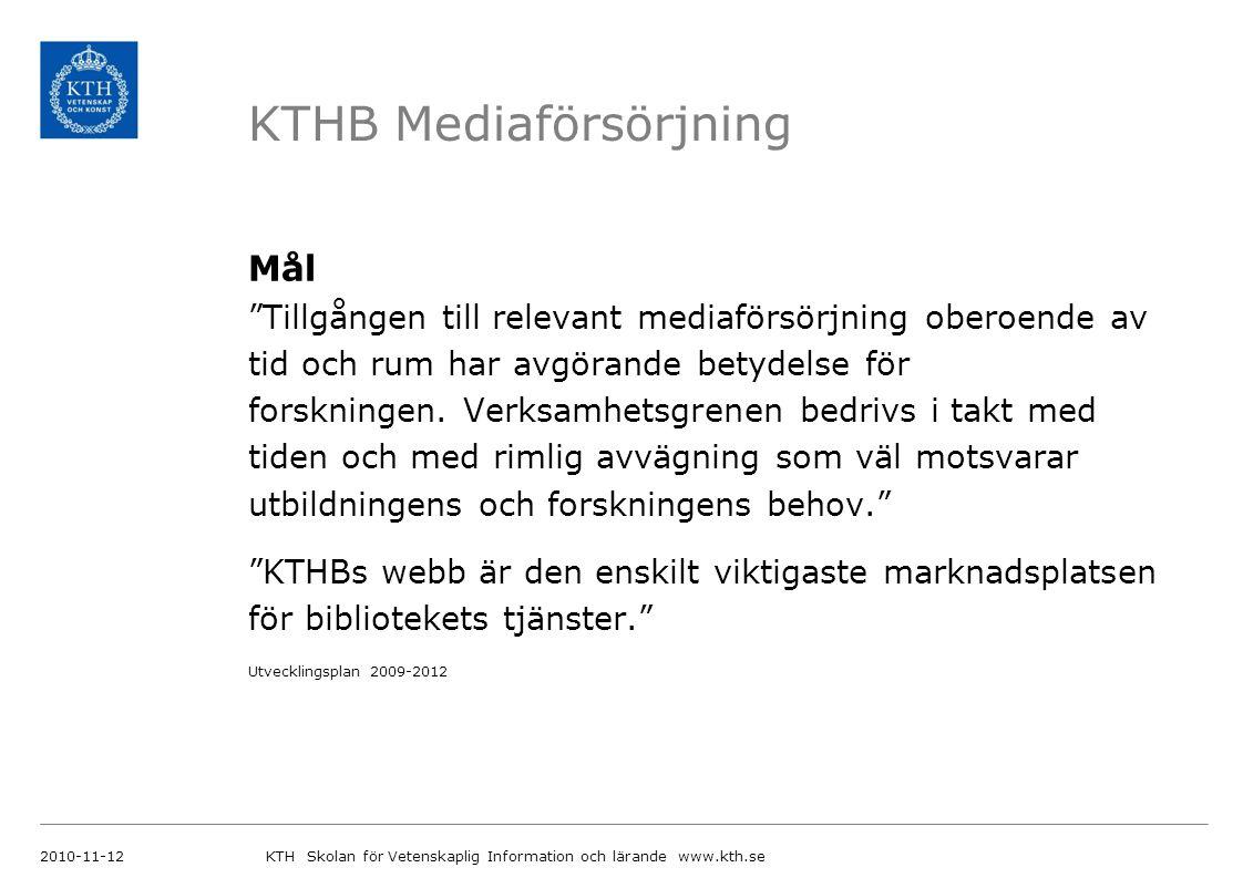 KTHB Mediaförsörjning Mål Tillgången till relevant mediaförsörjning oberoende av tid och rum har avgörande betydelse för forskningen.