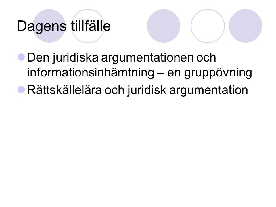 Dagens tillfälle Den juridiska argumentationen och informationsinhämtning – en gruppövning Rättskällelära och juridisk argumentation