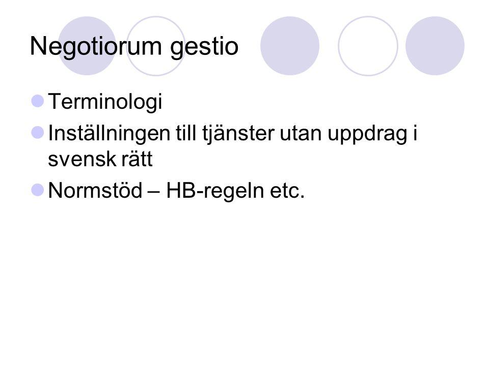 Negotiorum gestio Terminologi Inställningen till tjänster utan uppdrag i svensk rätt Normstöd – HB-regeln etc.
