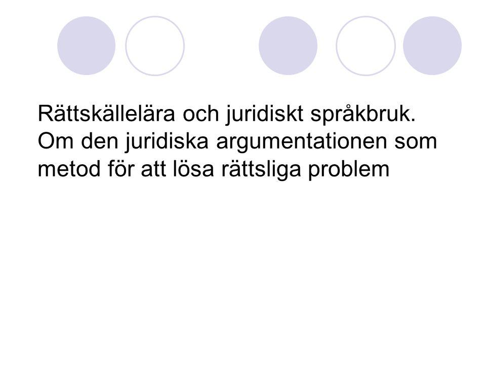 Rättskällelära och juridiskt språkbruk.