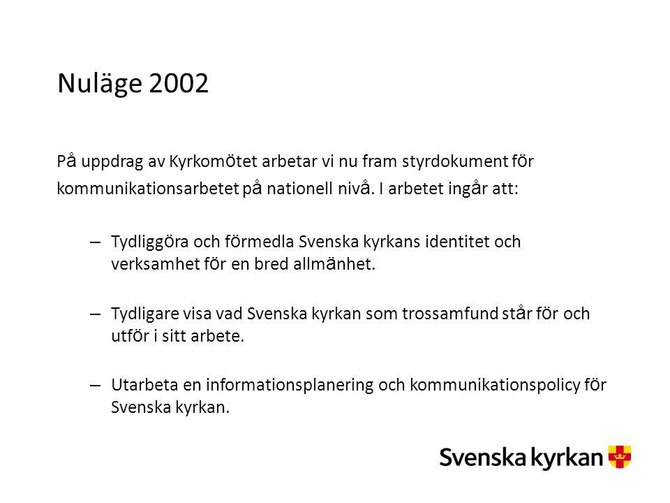 Nuläge 2002 P å uppdrag av Kyrkom ö tet arbetar vi nu fram styrdokument f ö r kommunikationsarbetet p å nationell niv å. I arbetet ing å r att: – Tydl