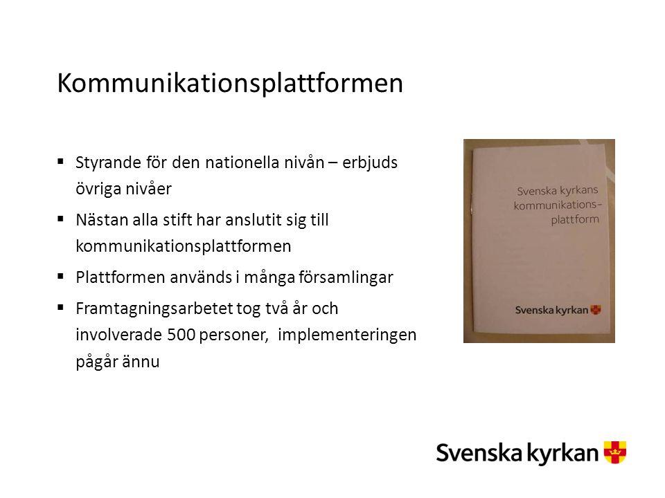 Kommunikationsplattformen  Styrande för den nationella nivån – erbjuds övriga nivåer  Nästan alla stift har anslutit sig till kommunikationsplattfor