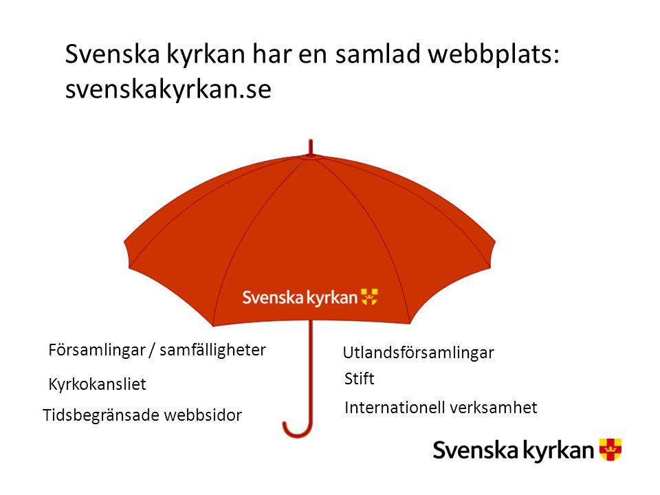 Svenska kyrkan har en samlad webbplats: svenskakyrkan.se Kyrkokansliet Utlandsförsamlingar Stift Församlingar / samfälligheter Internationell verksamh