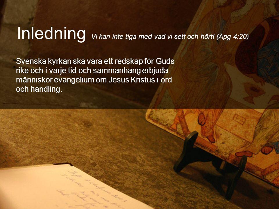 Inledning Vi kan inte tiga med vad vi sett och hört! (Apg 4:20) Svenska kyrkan ska vara ett redskap för Guds rike och i varje tid och sammanhang erbju