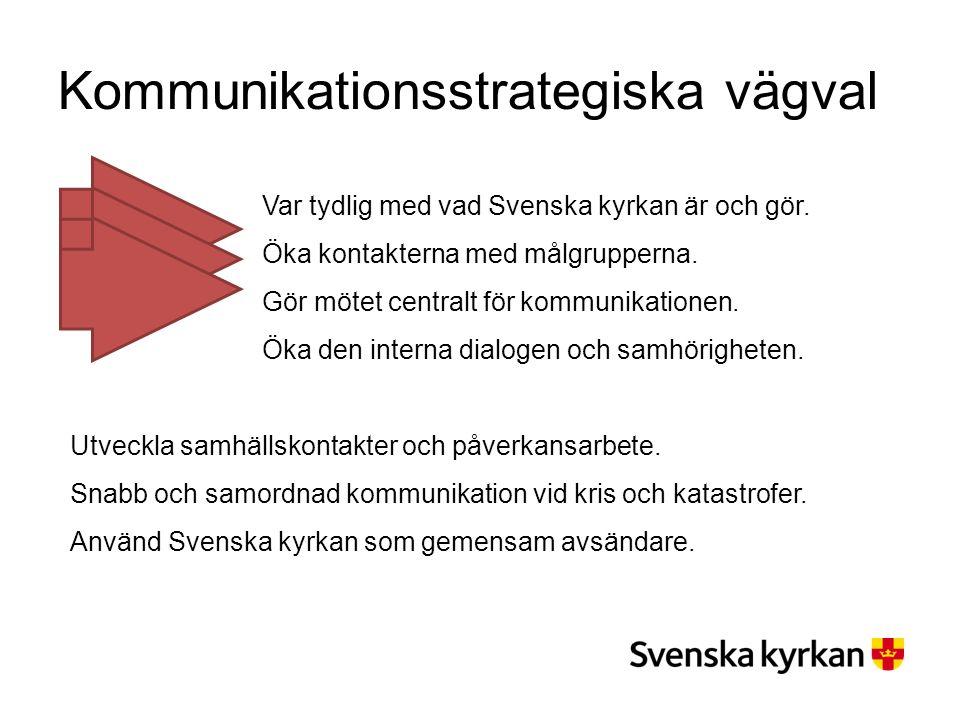 Kommunikationsstrategiska vägval Var tydlig med vad Svenska kyrkan är och gör. Öka kontakterna med målgrupperna. Gör mötet centralt för kommunikatione