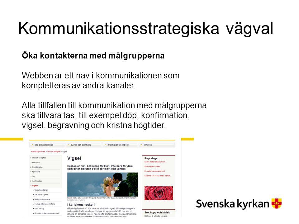 Kommunikationsstrategiska vägval Öka kontakterna med målgrupperna Webben är ett nav i kommunikationen som kompletteras av andra kanaler. Alla tillfäll