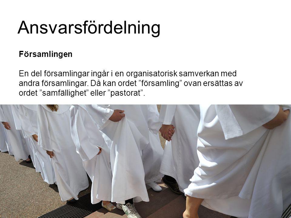 """Ansvarsfördelning Församlingen En del församlingar ingår i en organisatorisk samverkan med andra församlingar. Då kan ordet """"församling"""" ovan ersättas"""
