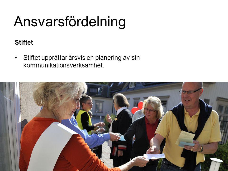 Ansvarsfördelning Stiftet Stiftet upprättar årsvis en planering av sin kommunikationsverksamhet.