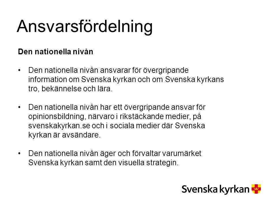Ansvarsfördelning Den nationella nivån Den nationella nivån ansvarar för övergripande information om Svenska kyrkan och om Svenska kyrkans tro, bekänn