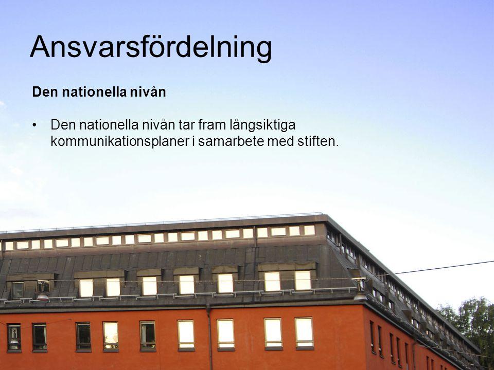 Ansvarsfördelning Den nationella nivån Den nationella nivån tar fram långsiktiga kommunikationsplaner i samarbete med stiften.
