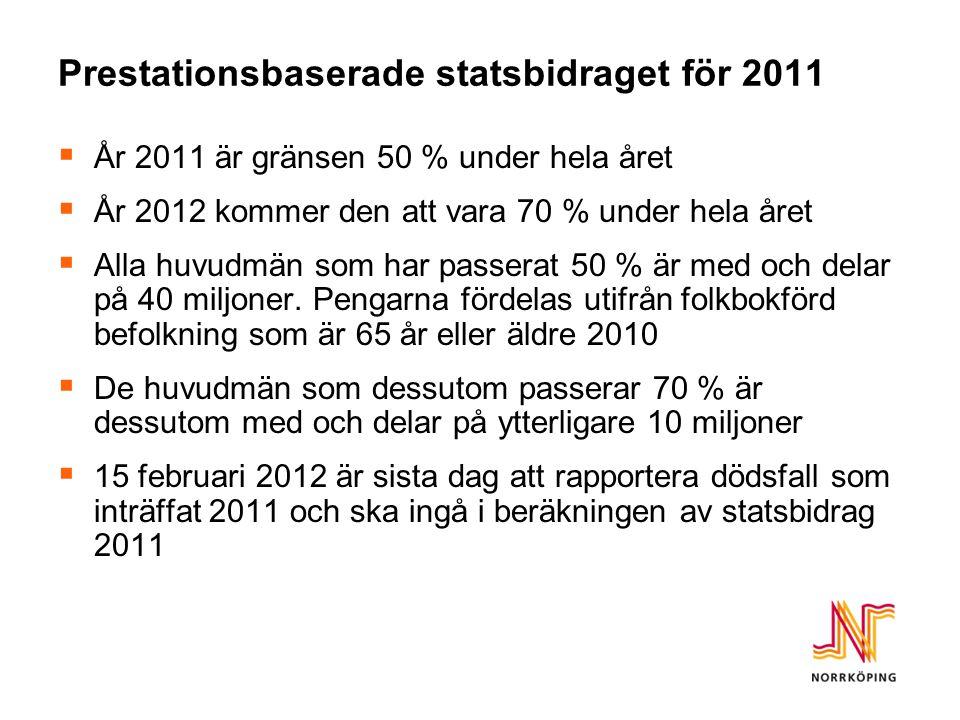 Prestationsbaserade statsbidraget för 2011  År 2011 är gränsen 50 % under hela året  År 2012 kommer den att vara 70 % under hela året  Alla huvudmän som har passerat 50 % är med och delar på 40 miljoner.