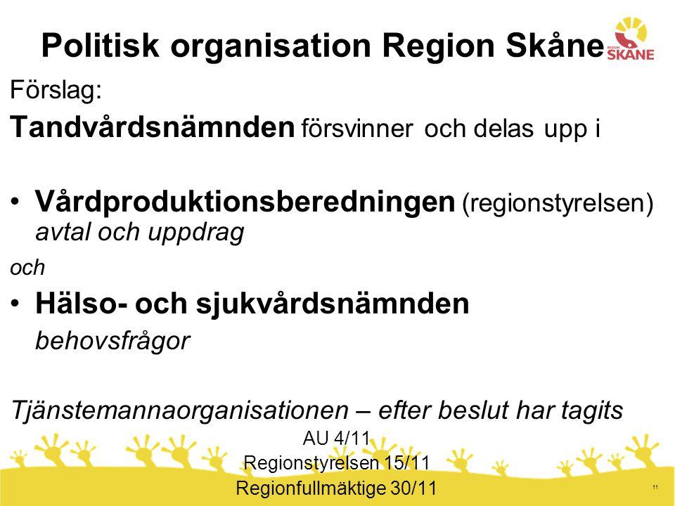 11 Politisk organisation Region Skåne Förslag: Tandvårdsnämnden försvinner och delas upp i Vårdproduktionsberedningen (regionstyrelsen) avtal och uppd