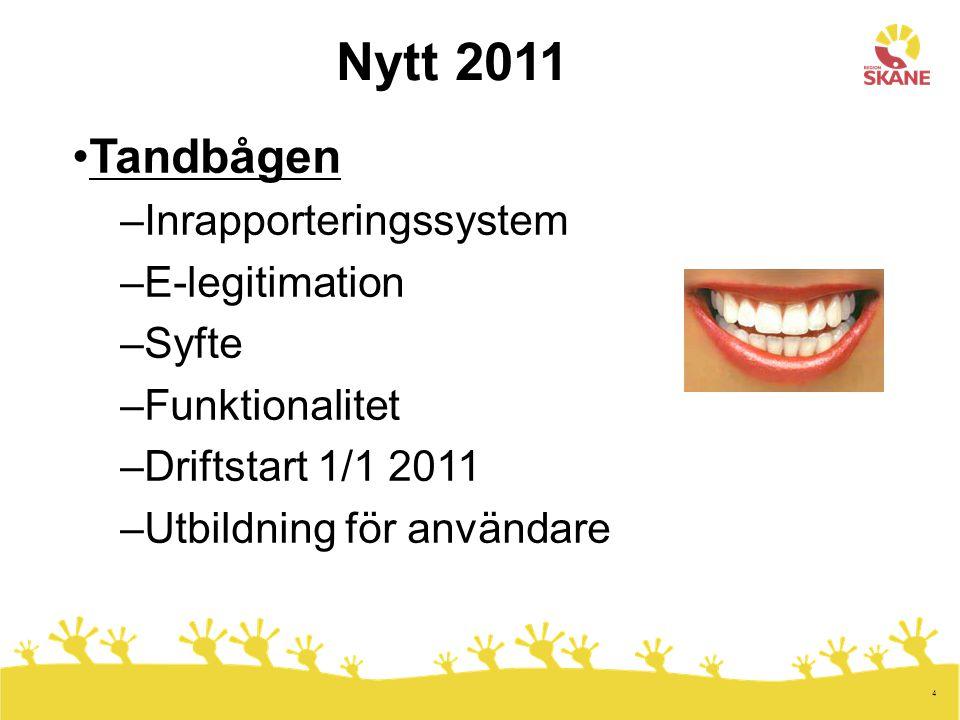 4 Nytt 2011 Tandbågen –Inrapporteringssystem –E-legitimation –Syfte –Funktionalitet –Driftstart 1/1 2011 –Utbildning för användare