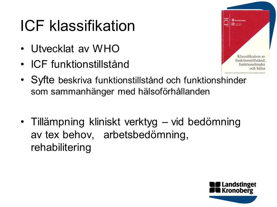 ICF klassifikation Utvecklat av WHO ICF funktionstillstånd Syfte beskriva funktionstillstånd och funktionshinder som sammanhänger med hälsoförhållande
