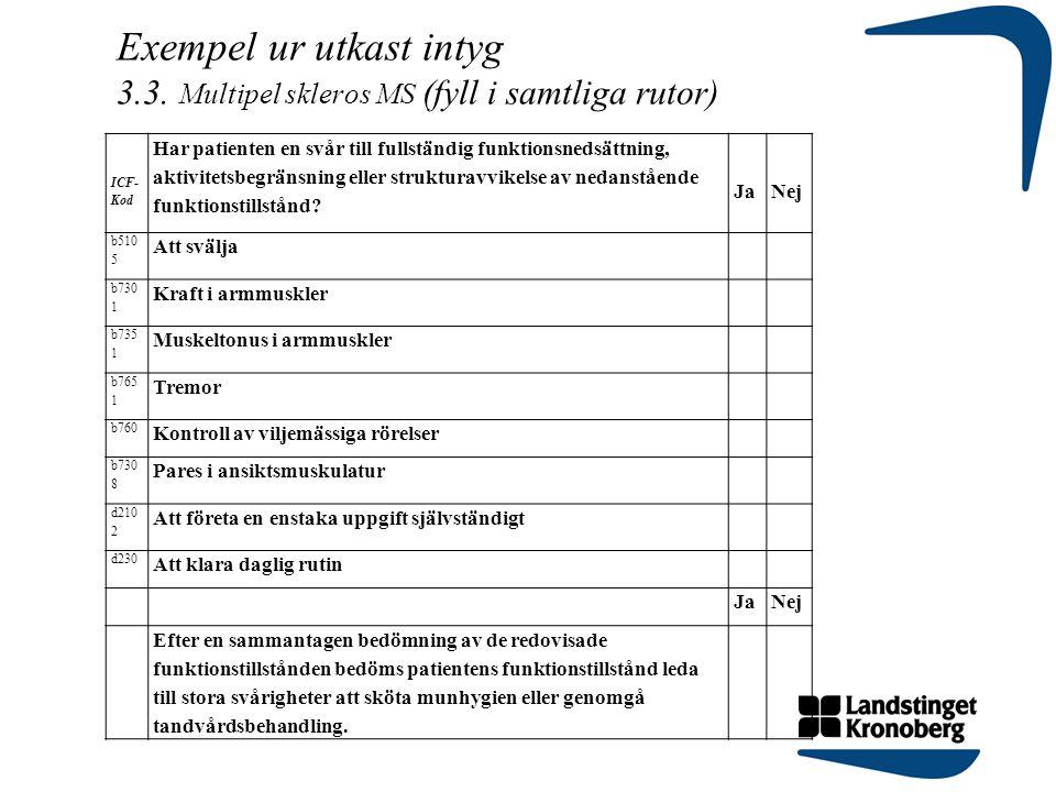 Exempel ur utkast intyg 3.3. Multipel skleros MS (fyll i samtliga rutor) ICF- Kod Har patienten en svår till fullständig funktionsnedsättning, aktivit
