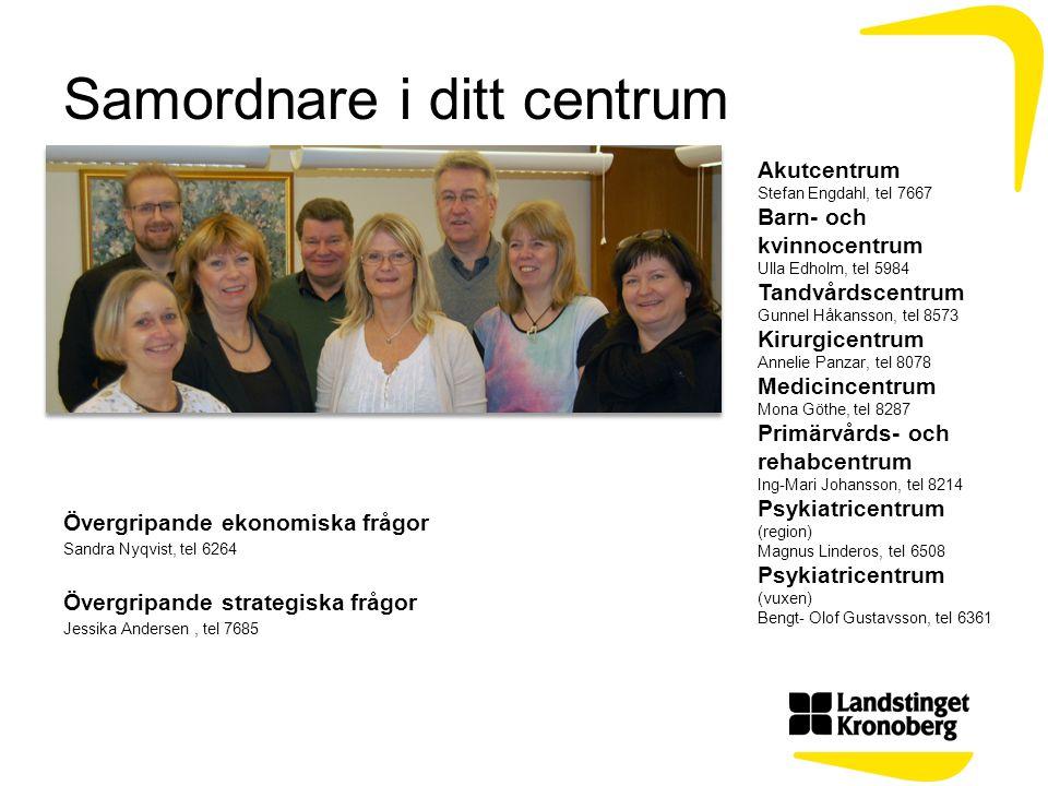 Samordnare i ditt centrum Övergripande ekonomiska frågor Sandra Nyqvist, tel 6264 Övergripande strategiska frågor Jessika Andersen, tel 7685 Akutcentr
