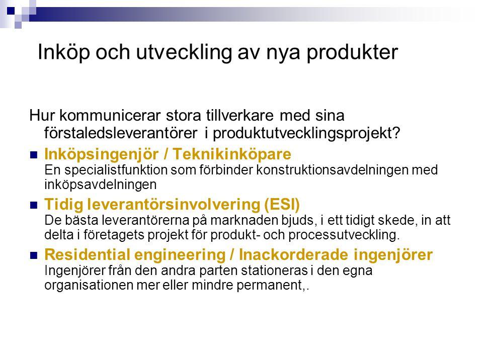 Inköp och utveckling av nya produkter Hur kommunicerar stora tillverkare med sina förstaledsleverantörer i produktutvecklingsprojekt? Inköpsingenjör /