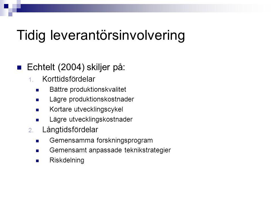 Tidig leverantörsinvolvering Echtelt (2004) skiljer på: 1. Korttidsfördelar Bättre produktionskvalitet Lägre produktionskostnader Kortare utvecklingsc