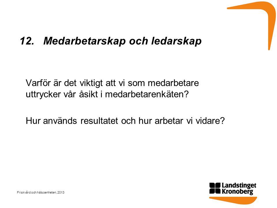 12. Medarbetarskap och ledarskap Varför är det viktigt att vi som medarbetare uttrycker vår åsikt i medarbetarenkäten? Hur används resultatet och hur