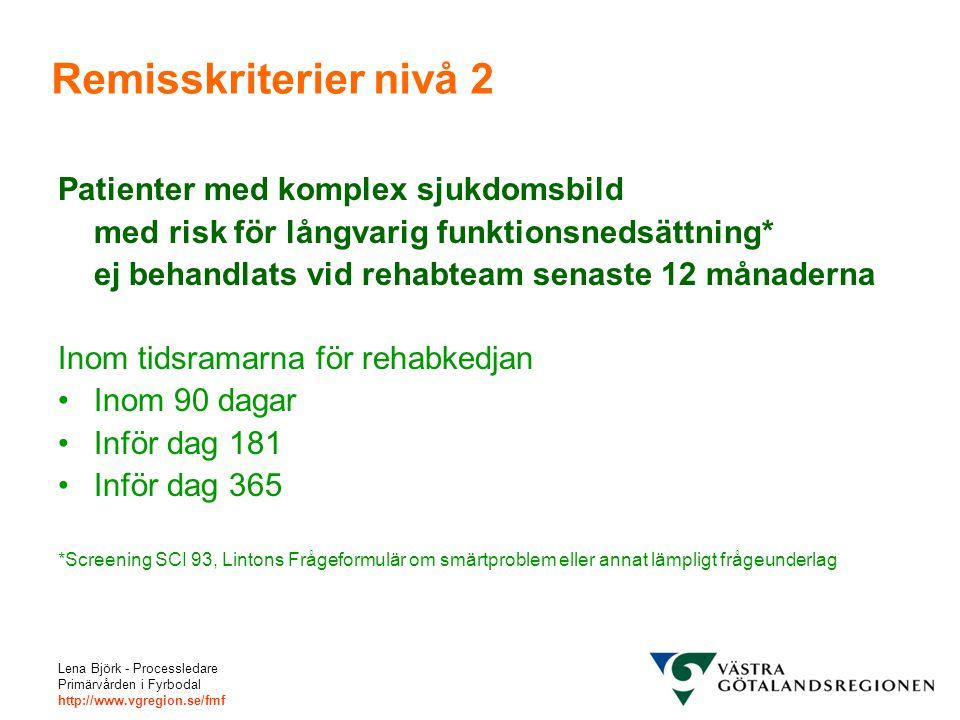 Lena Björk - Processledare Primärvården i Fyrbodal http://www.vgregion.se/fmf Remisskriterier nivå 2 Patienter med komplex sjukdomsbild med risk för l