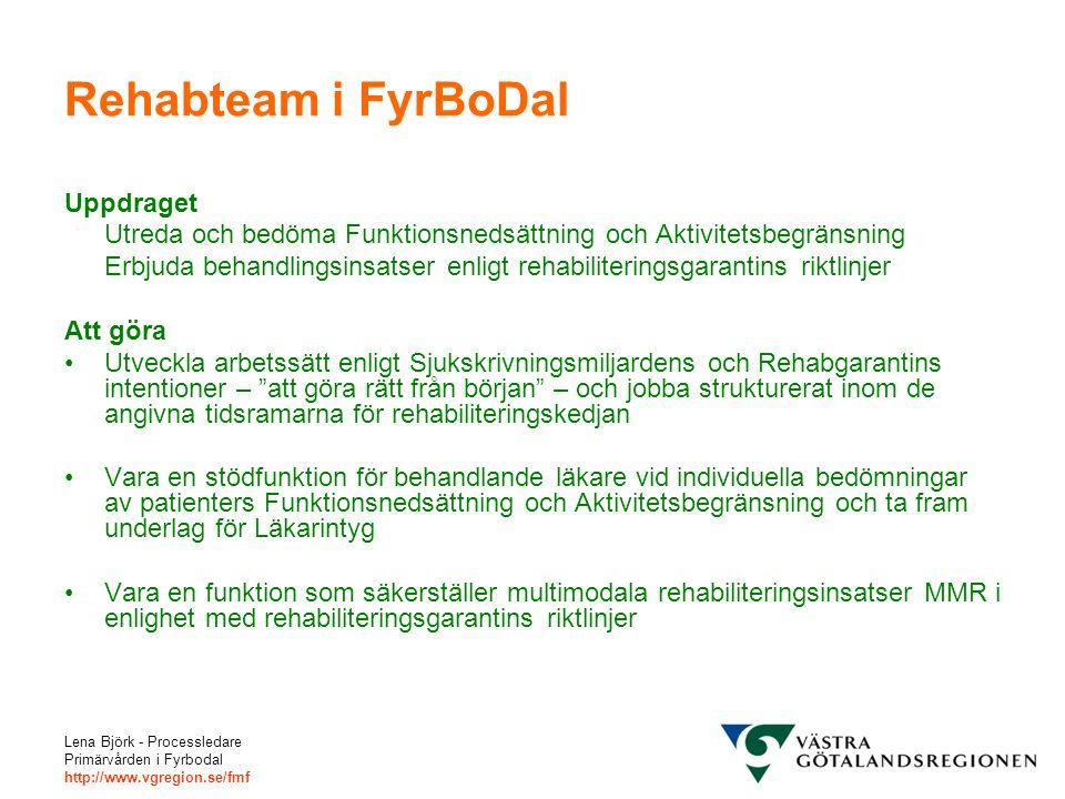 Lena Björk - Processledare Primärvården i Fyrbodal http://www.vgregion.se/fmf Rehabteam i FyrBoDal Uppdraget Utreda och bedöma Funktionsnedsättning oc