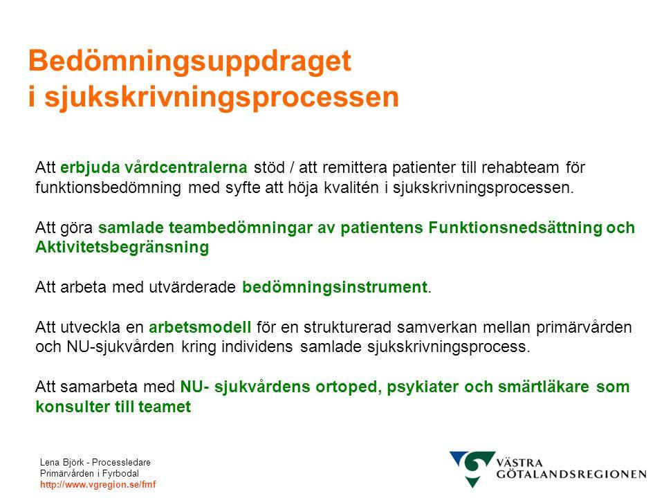 Lena Björk - Processledare Primärvården i Fyrbodal http://www.vgregion.se/fmf Bedömningsuppdraget i sjukskrivningsprocessen Att erbjuda vårdcentralern
