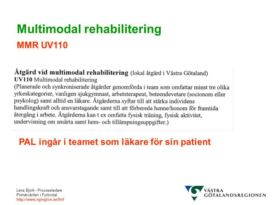 Lena Björk - Processledare Primärvården i Fyrbodal http://www.vgregion.se/fmf Multimodal rehabilitering MMR UV110 PAL ingår i teamet som läkare för sin patient