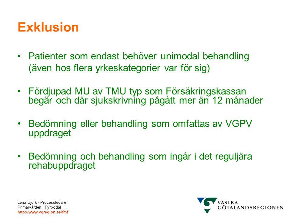 Lena Björk - Processledare Primärvården i Fyrbodal http://www.vgregion.se/fmf Exklusion Patienter som endast behöver unimodal behandling (även hos flera yrkeskategorier var för sig) Fördjupad MU av TMU typ som Försäkringskassan begär och där sjukskrivning pågått mer än 12 månader Bedömning eller behandling som omfattas av VGPV uppdraget Bedömning och behandling som ingår i det reguljära rehabuppdraget