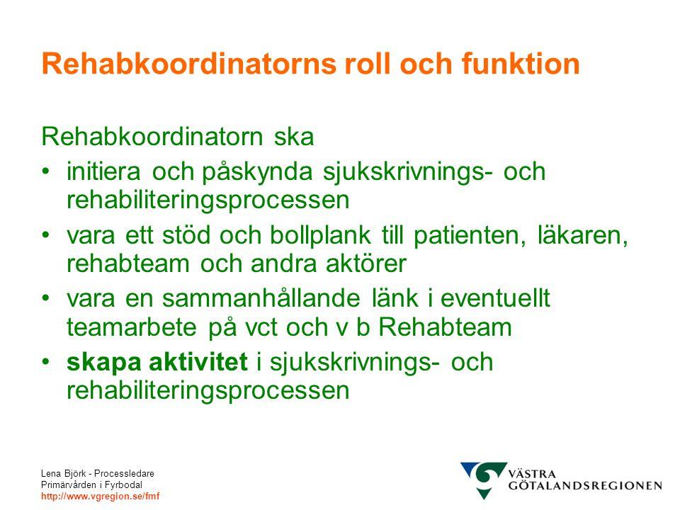 Lena Björk - Processledare Primärvården i Fyrbodal http://www.vgregion.se/fmf Rehabkoordinatorns roll och funktion Rehabkoordinatorn ska initiera och påskynda sjukskrivnings- och rehabiliteringsprocessen vara ett stöd och bollplank till patienten, läkaren, rehabteam och andra aktörer vara en sammanhållande länk i eventuellt teamarbete på vct och v b Rehabteam skapa aktivitet i sjukskrivnings- och rehabiliteringsprocessen