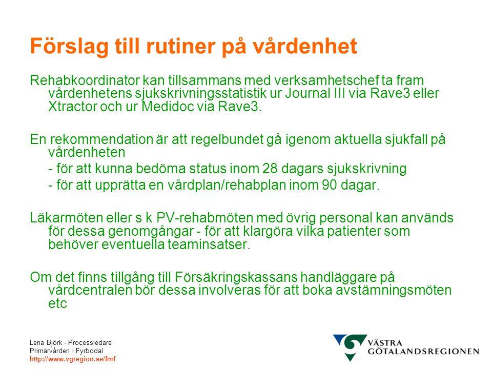 Lena Björk - Processledare Primärvården i Fyrbodal http://www.vgregion.se/fmf Förslag till rutiner på vårdenhet Rehabkoordinator kan tillsammans med verksamhetschef ta fram vårdenhetens sjukskrivningsstatistik ur Journal III via Rave3 eller Xtractor och ur Medidoc via Rave3.