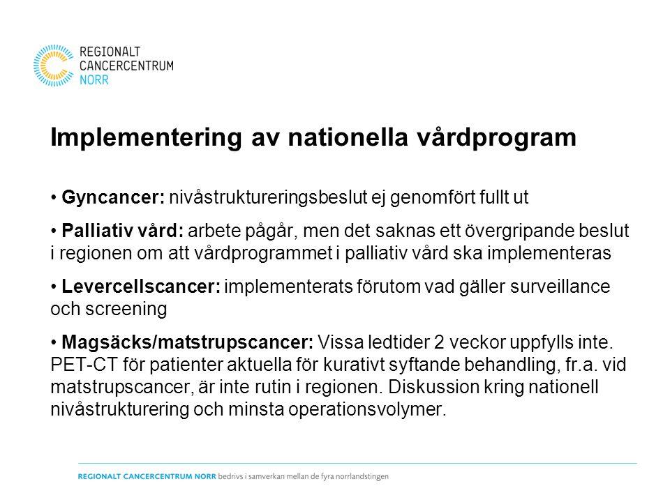 Implementering av nationella vårdprogram Gyncancer: nivåstruktureringsbeslut ej genomfört fullt ut Palliativ vård: arbete pågår, men det saknas ett öv