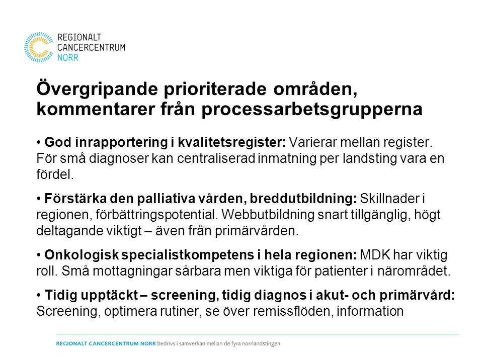 Övergripande prioriterade områden, kommentarer från processarbetsgrupperna God inrapportering i kvalitetsregister: Varierar mellan register. För små d