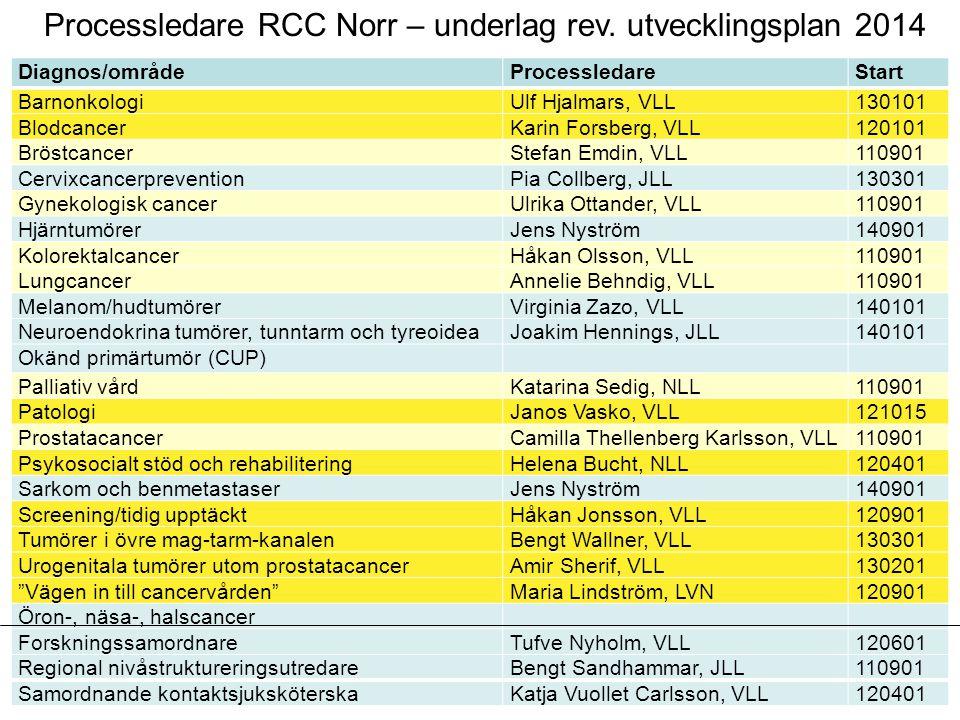 Processledare RCC Norr – underlag rev. utvecklingsplan 2014 Diagnos/områdeProcessledareStart BarnonkologiUlf Hjalmars, VLL130101 BlodcancerKarin Forsb