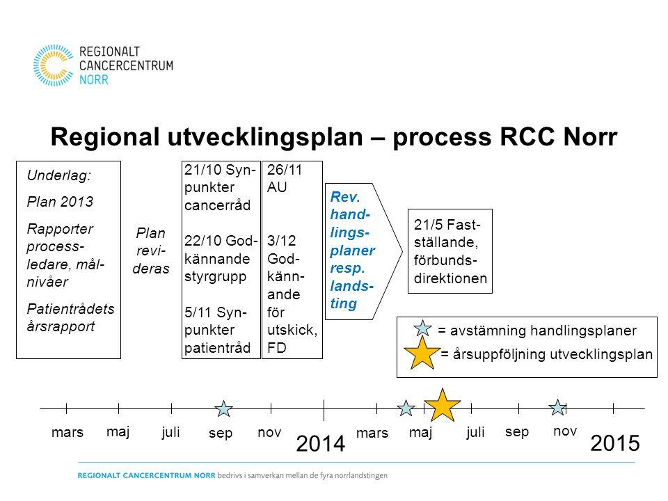 Regional utvecklingsplan – process RCC Norr 2014 Underlag: Plan 2013 Rapporter process- ledare, mål- nivåer Patientrådets årsrapport marsjuli 21/10 Sy